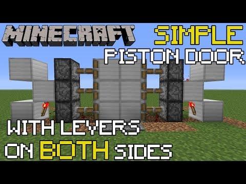 Minecraft: Piston Door Tutorial Opens w/ Lever on Both Sides