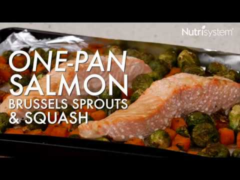 One Pan Salmon, Brussels Sprouts & Squash