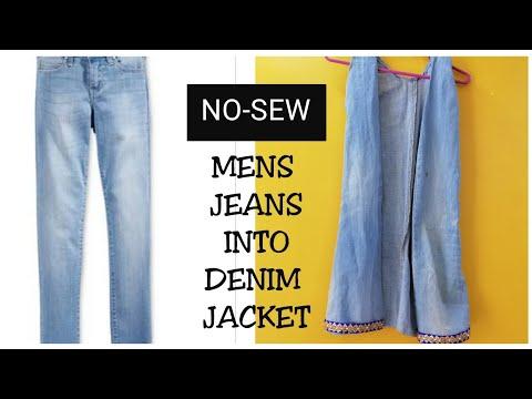 NO-SEW DIY: Convert/Reuse Old Men's Jeans into girls shrug/Denim Jacket (HINDI)