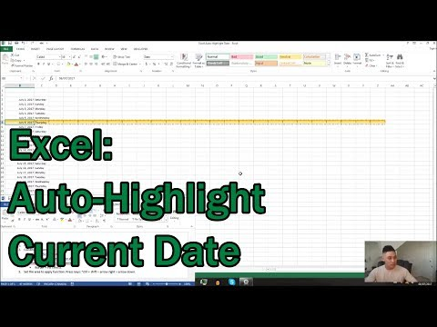 Excel: Auto-Highlight Current Date (conditional formatting).