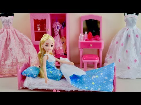Barbie Doll Dream Bedroom Unboxing Set up and Play Dolls Morning Routine