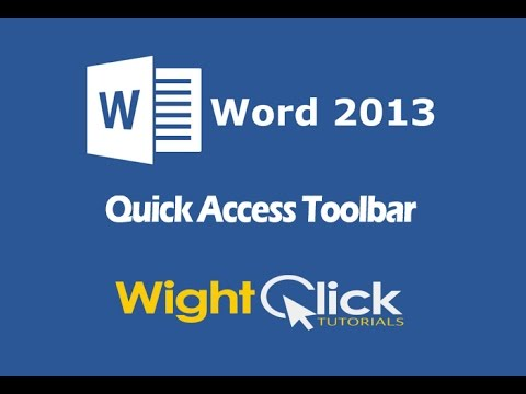 Word 2013 Quick Access Toolbar Tutorial