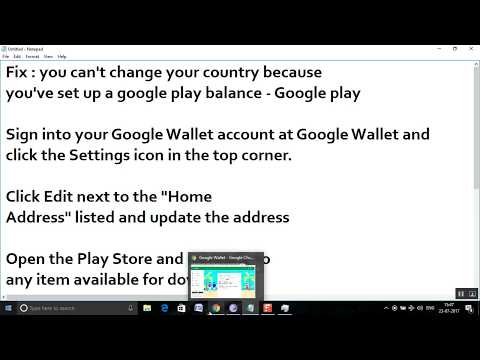 Fix : you can't change your country because  you've set up a google play balance - Google play