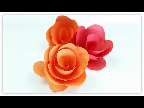 Paper flowers rose diy tutorial easy for children/origami flower folding 3d for kids,for beginners