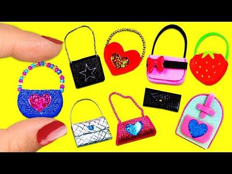 10 DIY Barbie Doll Miniature Purse, Handbag, Bag -10 Different Styles - 10 Easy DIY Doll Crafts #2