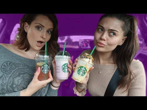 TRYING THE STARBUCKS SECRET MENU WITH MY BEST FRIEND! BUTTER BEER FRAPPUCCINO AND MORE!