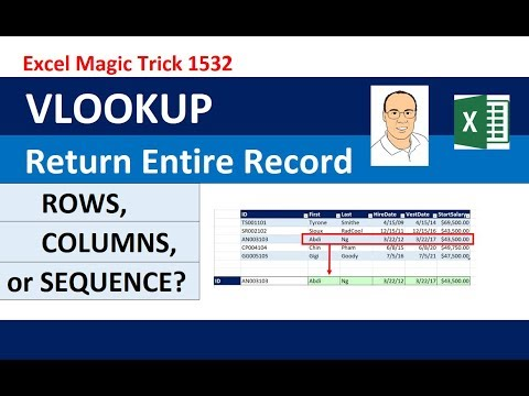 VLOOKUP To Get Complete Record: ROWS, COLUMNS or SEQUENCE Function? EMT 1532