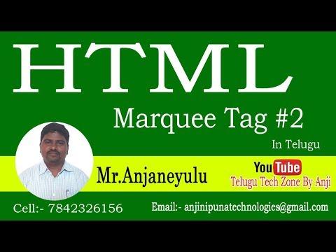 Marquee tag in HTML part 2  HTML tutorial in telugu   HTML In Telugu