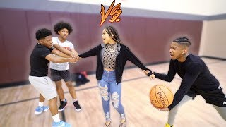 1v2 Basketball VS. Deshae Frost & His Little Brother!! (If I win I take Deshae Girl On A Date!)