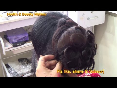 DIY - easy Juda Hairstyle with gajra and puff in front - hairstyle for Medium curly hairs