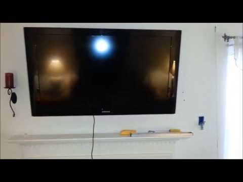 DIY Over Fireplace Flat Panel LCD LED Plasma TV Install With Wire Fish Cable In Wall Run
