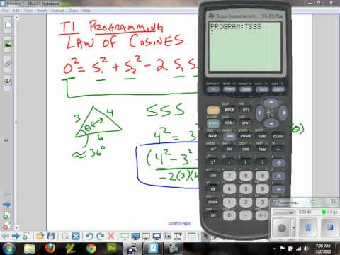 Pre-Calculus Law of Cosines (SSS) and TI Programming