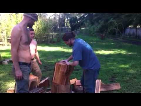 Making cedar shingles. Cal efort