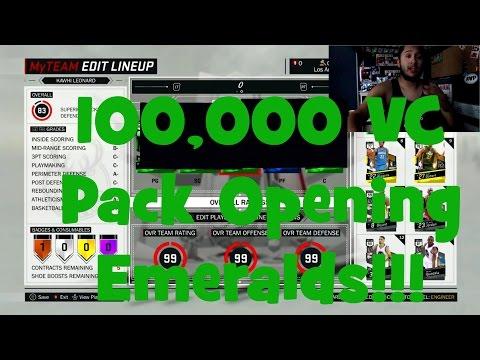 NBA 2K17 100K VC Pack Opening Emeralds!