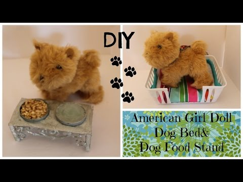 How to Make Dog Bed and Dog Bowl for Water and Food - American Girl Doll DIY Craft