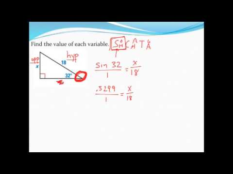 Using trig to find two missing sides of a right triangle