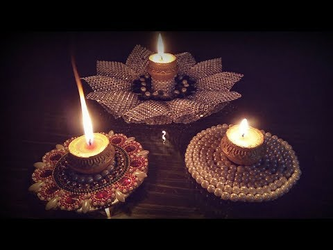 how to make diya holder with cd\diy diwali decoration ideas at home |home decoration ideas