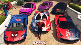 GTA 5 - Stealing SPIDERMAN Vehicles With Michael! | Michael Becomes Spiderman | (Real Life Cars #97)