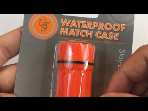UST orange emergency survival plastic waterproof match case review