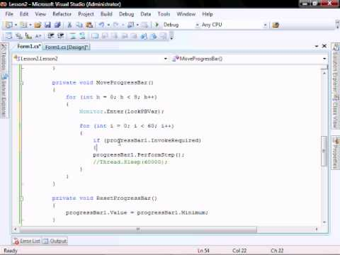 Lesson 2 (Part 2) Gridview MethodInvoker Threading Progress Bar C#