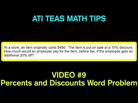 TEAS Math Tips - Video #9: Percents and Discounts Word Problem