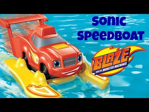 Blaze And The Monster Machines Sonic Speedboat Blaze Pool Party Bath Toys Water Toys! Bath Time FUN!