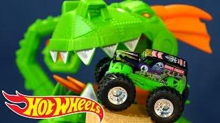 Трасса Hot Wheels 2015: Dragon Blast Challenge. Машинки Монстр Трак Хот Вилс. Игрушки
