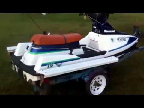 Kawasaki Tandem sport 650cc Jet Ski on lowered homemade trailer.