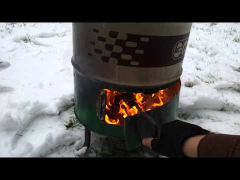 Wood Burner made from 60 Litre oil drum