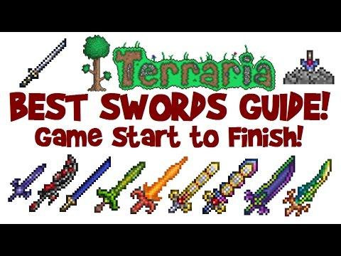 BEST TERRARIA SWORDS GUIDE! How to start & get Night's Edge, True Excalibur up to Terra Blade!