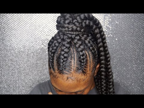 Feeder braids into a ponytail! @hair.bybre_