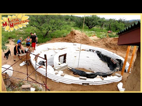 Foundation for 2nd Story   Underground Earthbag Building Ep 6   Weekly Peek