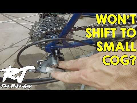 Fix Bike Rear Derailleur That Won't Shift Into Highest Gear/Small Cog