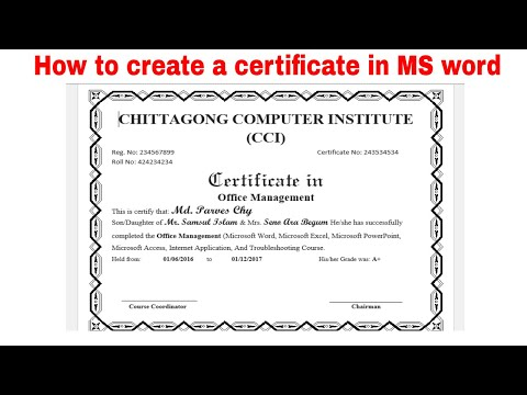 How to create a certificate in MS word 2018