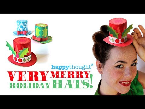 Very Merry Holiday Hats - 3 free festive mini paper top hats to download