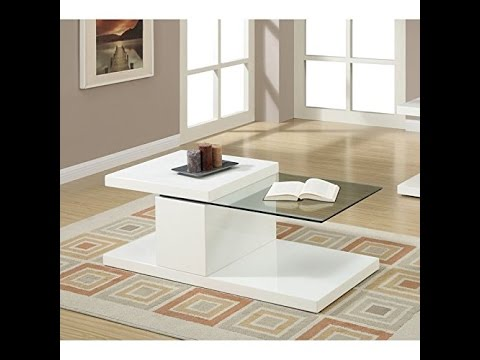 modern white swivel half glass top coffee table by poundex