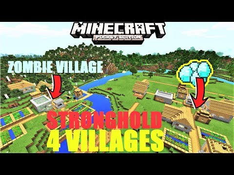 Minecraft PE - AMAZING ZOMBIE & DIAMOND VILLAGE, STRONGHOLD | 4 VILLAGES SEED MCPE 1.2.8