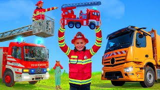 Kids Pretend Play & Learn with Fire Truck, Tractor & Garbage Trucks
