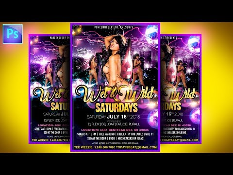 How to make PSD flyers on Adobe Photoshop CC Party Event Club Graphic Design FULL
