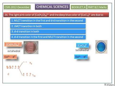 d-d Transition -CSIR-2012-December-Chemical Sciences Answer