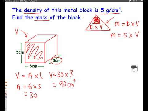 Density Mass Volume mathscast