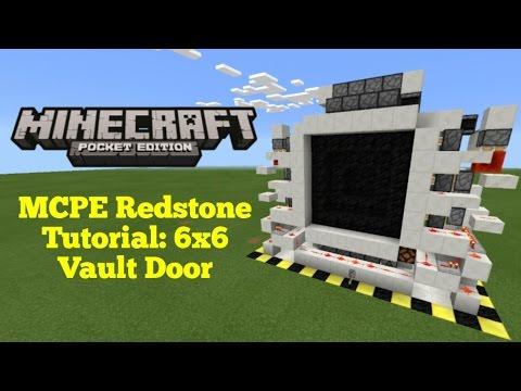 Minecraft Pocket Edition Redstone Tutorial: 6x6 Vault Door (MCPE 1.1.0)