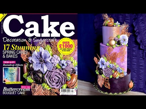 Lavender & Copper buttercream flower cake tutorial peek - cover of Cake Decoration & Sugarcraft Mag
