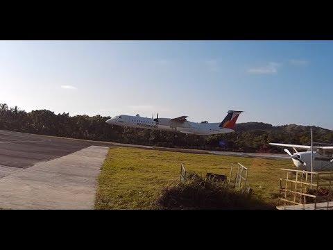 Philippine Airlines Bombardier Dash 8 Q400 Landing Basco, Batanes