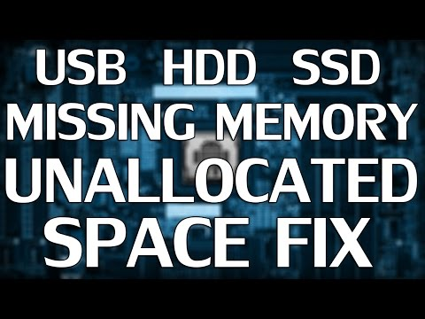 How to FIX - Missing Memory / Unallocated Space on HDD USB SSD Drive