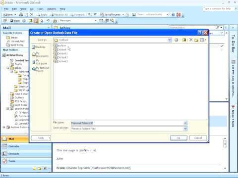 Outlook 2007 - Creating a Personal File Folder