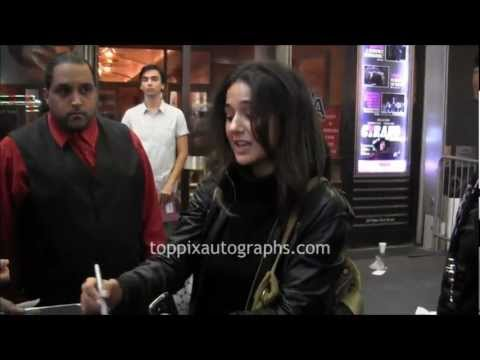 Emmanuelle Chriqui - Signing Autographs at 24 Hour Play on Broadway in NYC