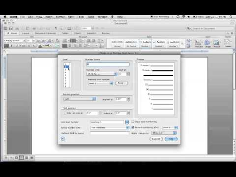 Format headings using list styles in Word for Mac 2011