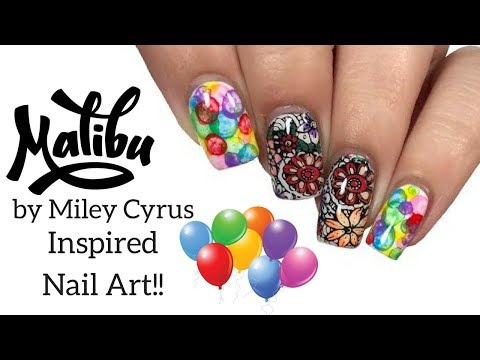 🌸 Nail Art Inspired by Malibu from Miley Cyrus!! 🌸