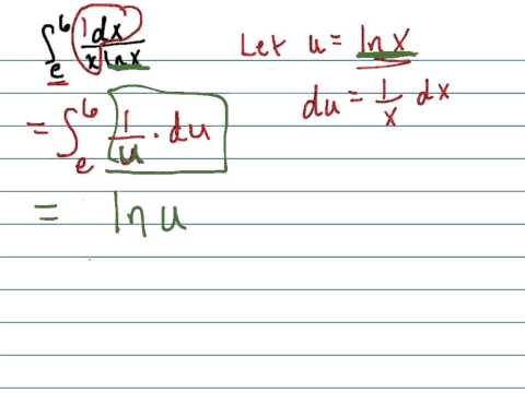 Find integral of dx/(xlnx) from e to 6